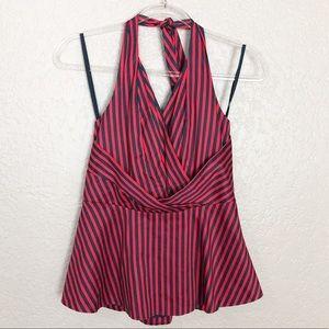 EUC Anthro Odille striped halter neck peplum top